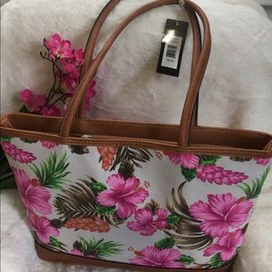 handbag with beautiful flowers with colors